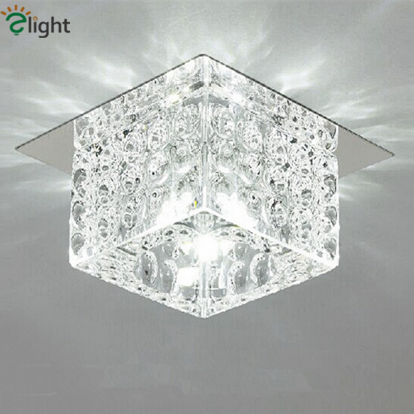 Dia10cm Modern Lustre Crystal Glass Led Chandeliers Creative Chrome Corridor Led Chandelier Lighting Porch Led Downlight Fixture