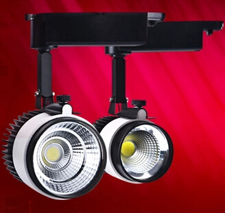 Retail Sale 30W LED track lighting AC85-265V aluminum white+black shell rail ceiling light spotlight