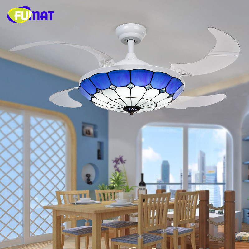 FUMAT Ceiling Fans Mediterranean Style 42 Inch LED 32W Tiffany Light With Remote Control Living Room Decoration Fan Light