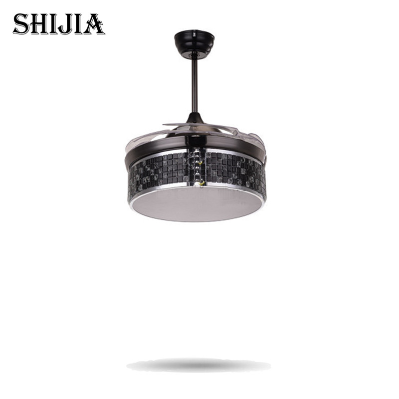 LED Luxury Bule Crystal Ceiling Fans With Light and Remote For Dining Room Cafe Pendant Lamp Foyer Home Decoration Floding Fans