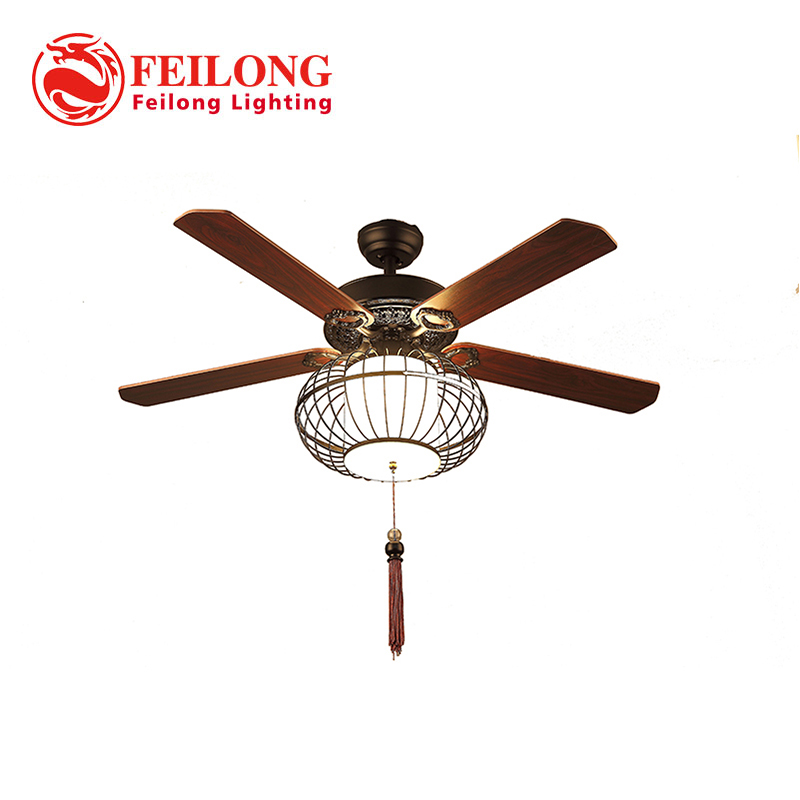 Chinese Nest Shade Ceiling Fan 5215 With Integrated Lights art ceiling fan light