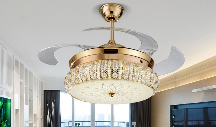Crystal fan lights fan chandelier remote control restaurant Euro modern minimalist LED fan lights chandelier crystal living room