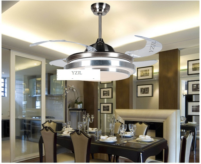 Fashion ABS blades fan pendant fan lighting minimalist modern bedroom dining room pendant fan lights with remote control LED