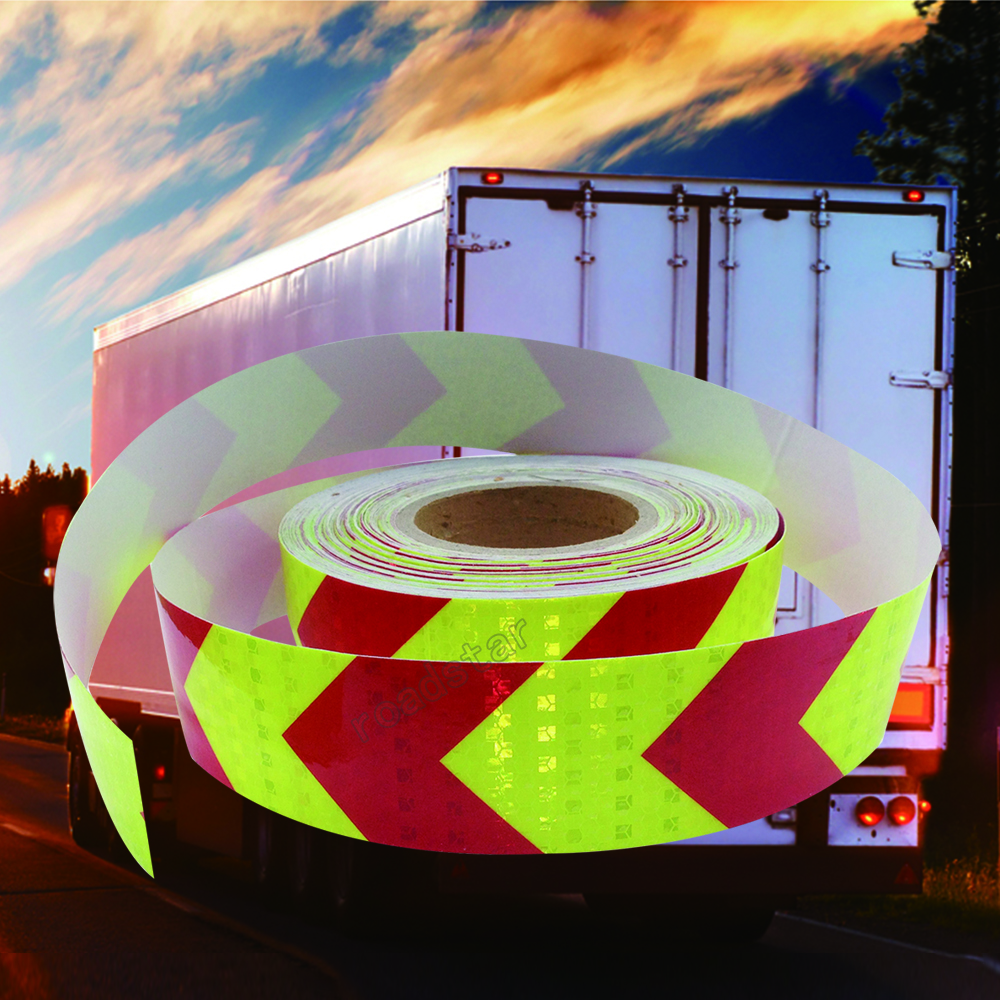 5cmx50m PET Arrow Safety Reflective Warning Tape Film Waterproof Sticker for Car Truck fluorescent yellow and red