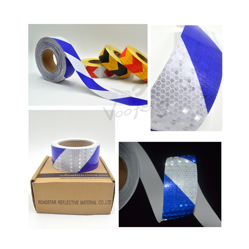 5cmx10m Shining Reflective Warning Self-Adhesive Stikcer with Blue White Color for Car