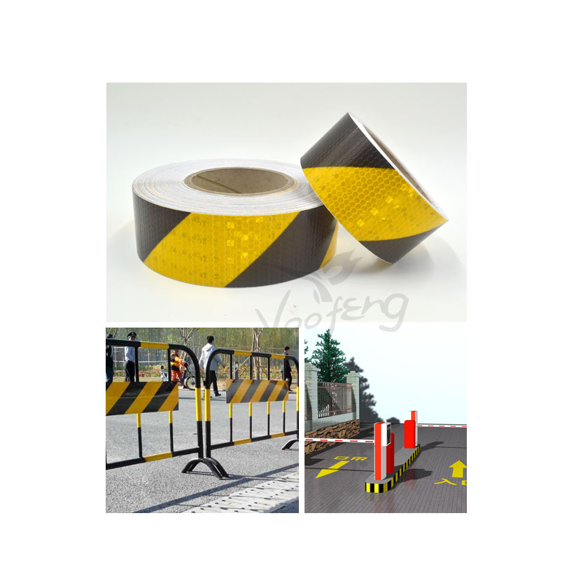 5cmx5m Small Shining Square Self-Adhesive Reflective Warning Tape with Yellow Black ColorTtwill Printing for Car AND Motorcycle
