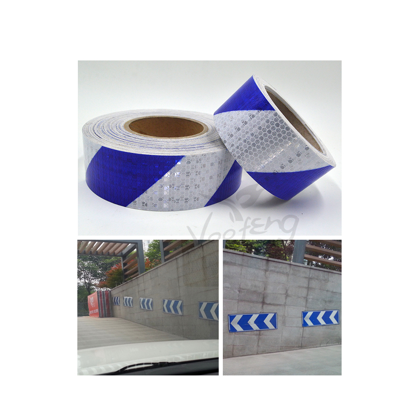 5cmx5m Small Shining Square Self-Adhesive Reflective Warning Tape with Blue White Color for Car AND Motorcycle