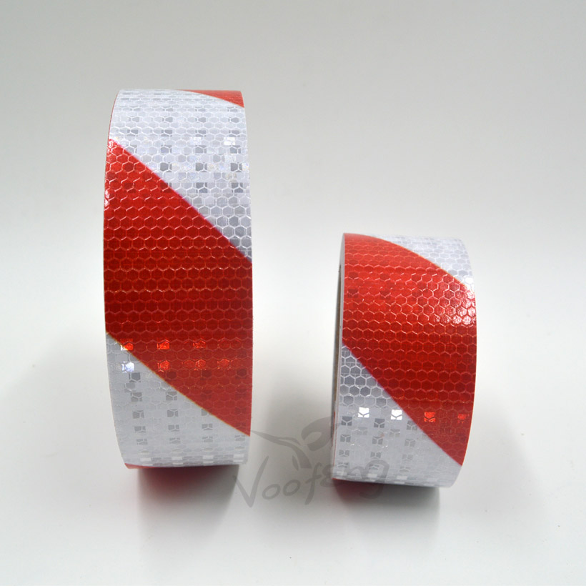 5cmx3m Shining Reflective Warning Self-Adhesive Stikcer with Red White Color Twill Printing for Car