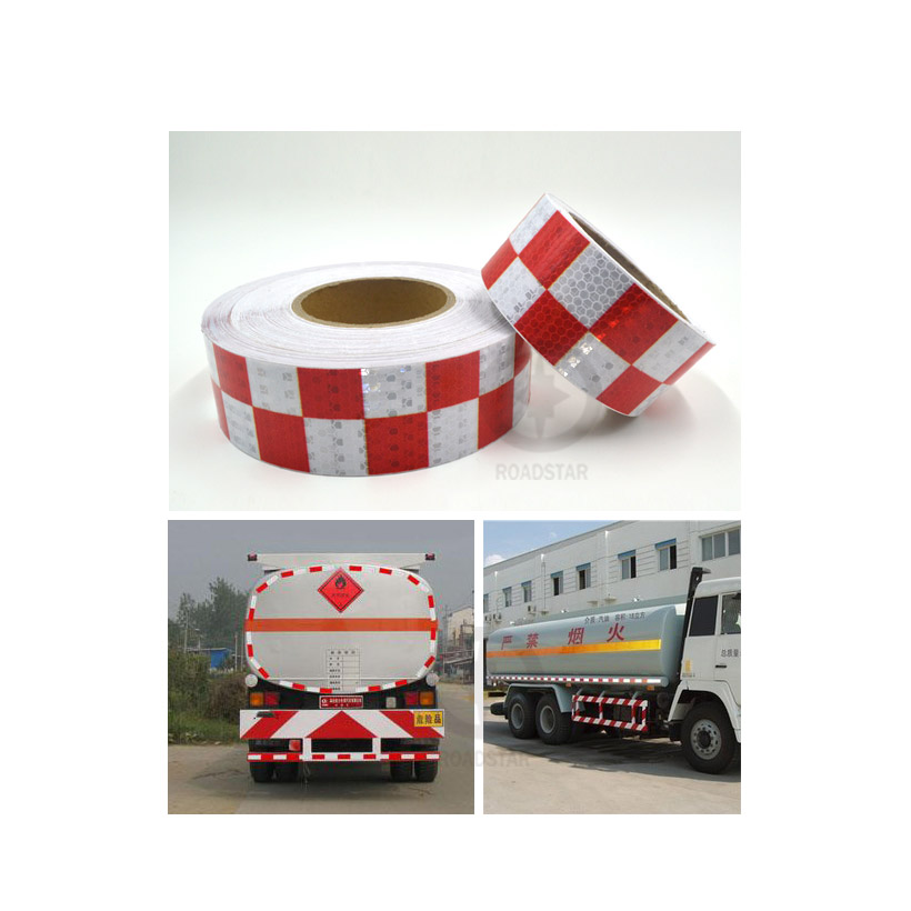 5cmx3m Shining Red White Color Square Self-Adhesive Reflective Warning Tape for Body Signs