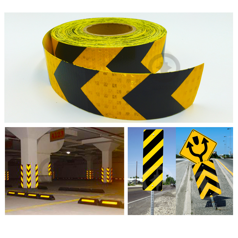 5cmx10m shining reflective warning self-adhesive stikcer with yellow black color arrow printing for car