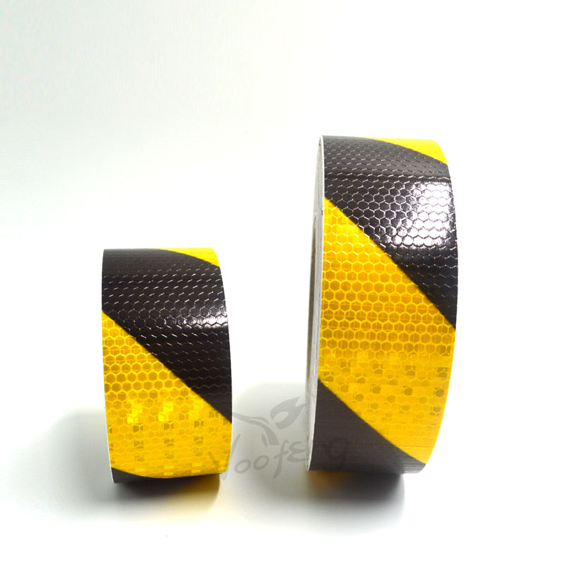 5cmx3m Small Shining Self-Adhesive Reflective Warning Tape with Yellow Black ColorTtwill Printing for Car AND Motorcycle