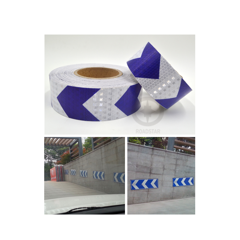 5cmx3m Shining Reflective Warning Self-Adhesive Stikcer with Blue White Color Arrow Printing for Car&Motorcycle