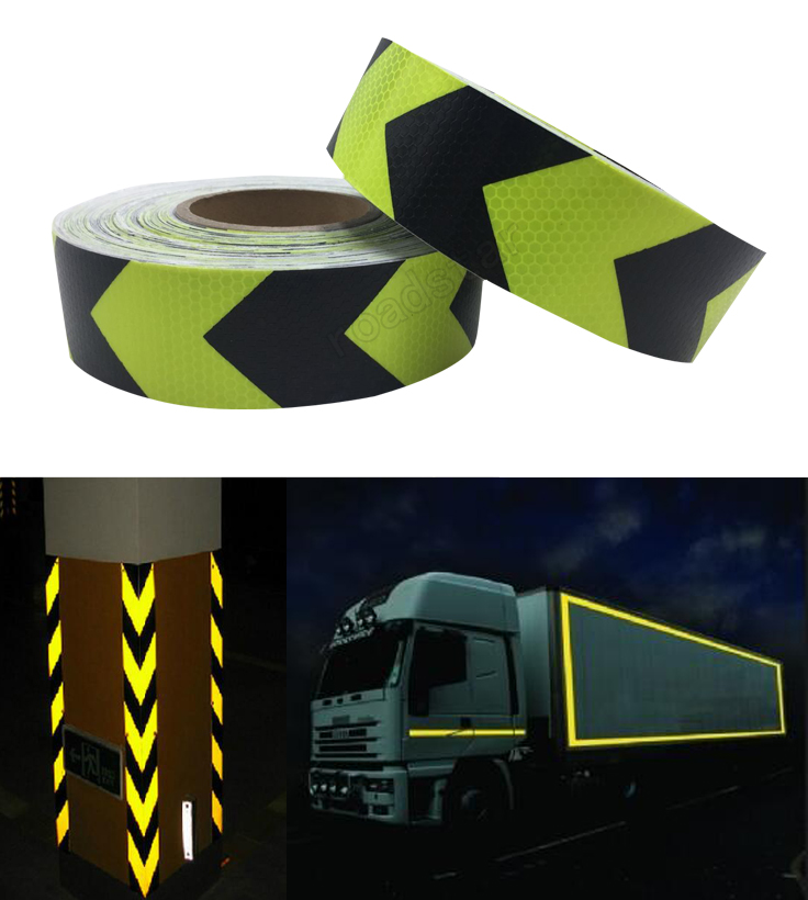 5CM x 25M Fluorescent yellow arrow PET Reflective Tape Reflective Safety Warning Tape for car