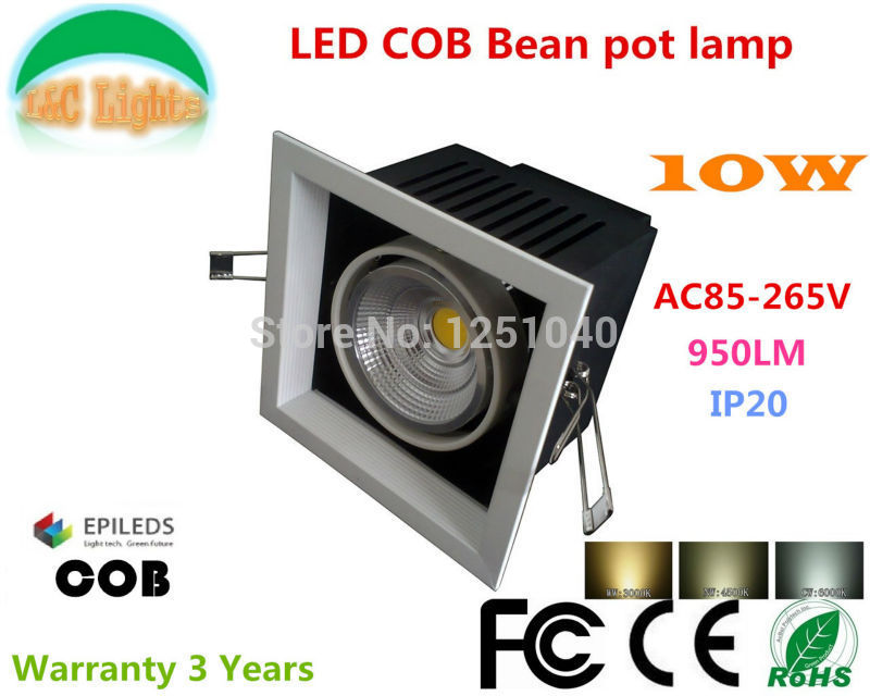 AR80 10W LED Bean Pot Light COB LED Grille Lamp Highlighted LED Bean Gallbladder Lamp CE RoHS FCC Warranty 3 Years 4Pcs a lot
