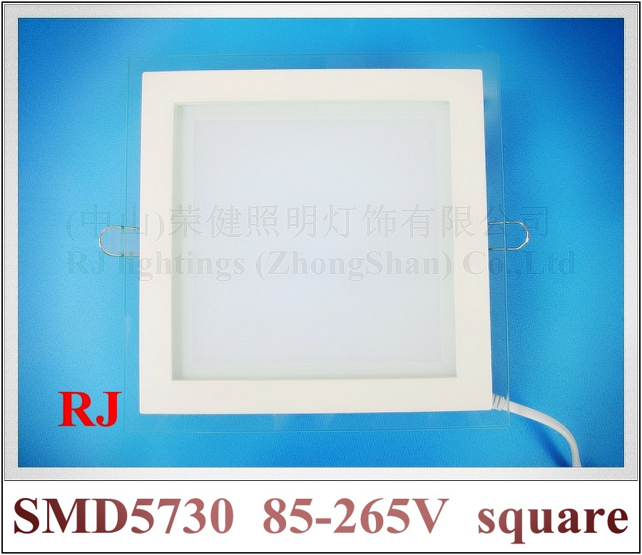 20pcs X recessed style LED panel lamp light down light square with glass AC85-265V  6W / 12W / 18W  optional wholesale