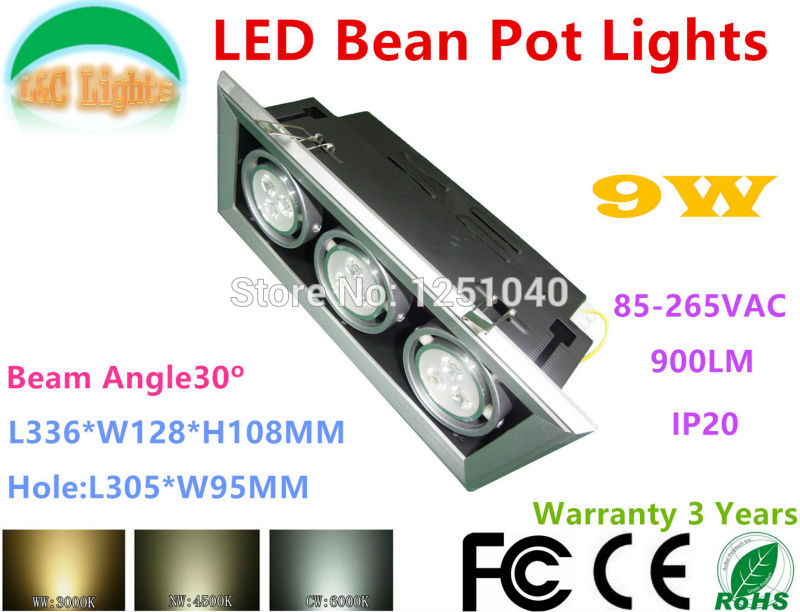 wholesale 9W LED Bean Pot Lights 110V 220V recessed LED Grille Lamp high power LED Grid Light indoor led lighting 8 Pcs/lot