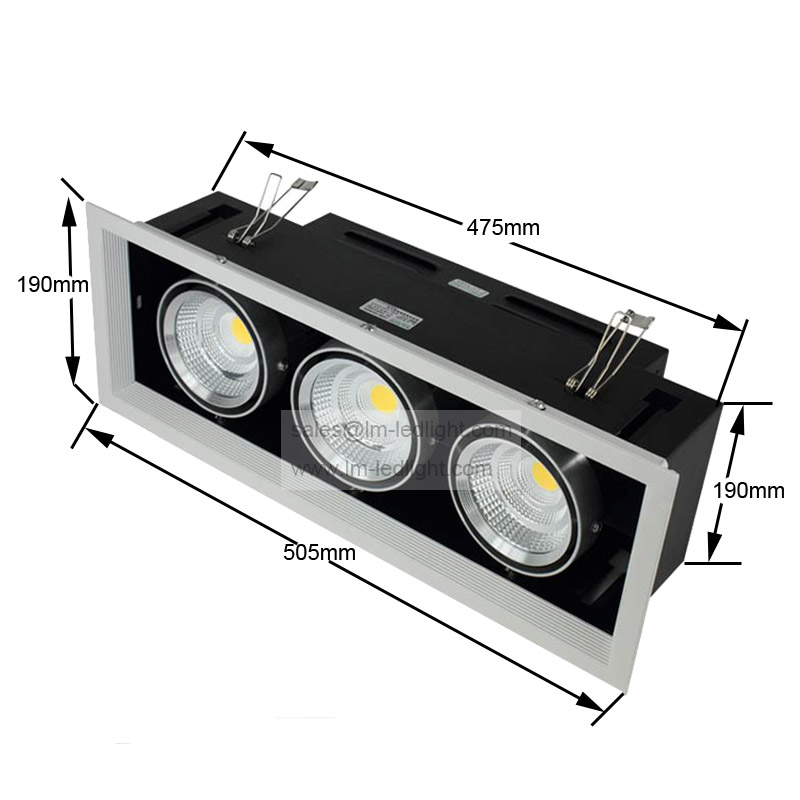 Dimmable AR80 3*15W LED Bean Pot Light 45W COB LED Grille Lamp High light  LED Bean Gallbladder Lamp Warranty 3 Years