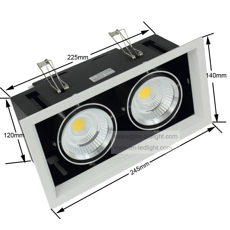 Dimmable 2*10W LED Bean Pot Light 110-240V Bridgelux COB LED Grille Lamp 4pcs/lot warm/day/cold white focos led empotrables