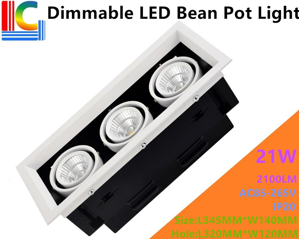 Dimmable 21W LED Bean Pot Light 3 COB LED Grille Lamp Highlighted AC85-265V LED Bean Gallbladder Lamp CE 2100LM Home Lighting