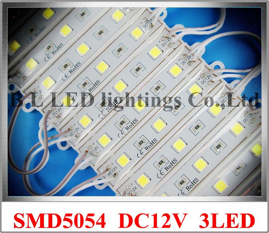LED module super bright SMD5054 LED lighting module light back light for sign 5054 DC12V 3*0.4W 1.2W 150lm IP66 75mm*12mm 3 led
