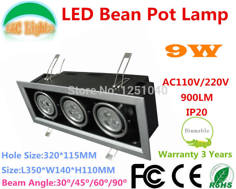 Dimmable 9*1W LED Bean Pot Light LED Grille Lamp Highlighted LED Bean Gallbladder Lamp CE RoHS FCC Warranty 3 Years 2Pcs a lot