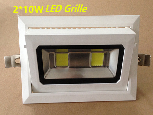 10pcs/lot  20W Rotatable Rectangle COB LED Downlight  Recessed Die-cast aluminum Grille white paint shell AC110V220V230V