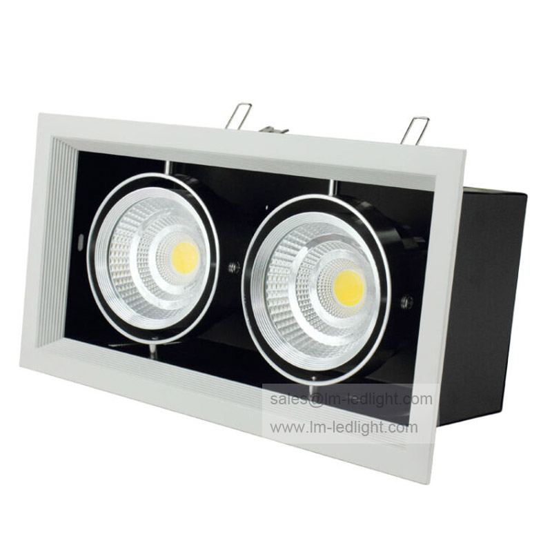 2x10W Dimmable Grille Lights 20w Square COB LED ceiling Grille light Lamp LED bean pot light warm white