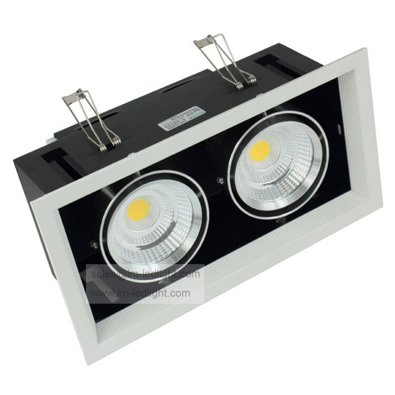 Dimmable double COB Led down lamp 2 *10 w Dimmable LED ceiling grille lamp double COB lamp AC85-260V