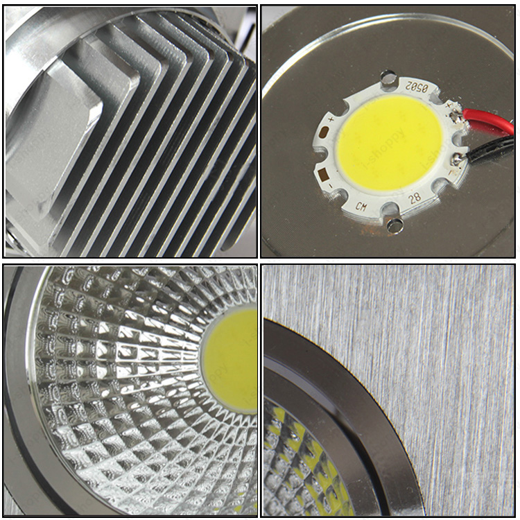 Dimmable/N 3W/5W/7W/10W/15W LED COB Recessed Light Grille Lamp Bedroom Super Market Reading Room White Shell