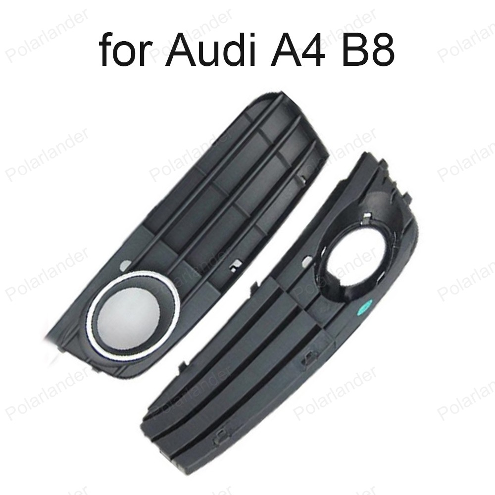 One Pair Black Right & Left Fog Light Lamp Grille For A/udi A4 B8 2008 -2012 Auto Grills 8K0807681A 01C 8K0807682A 01C
