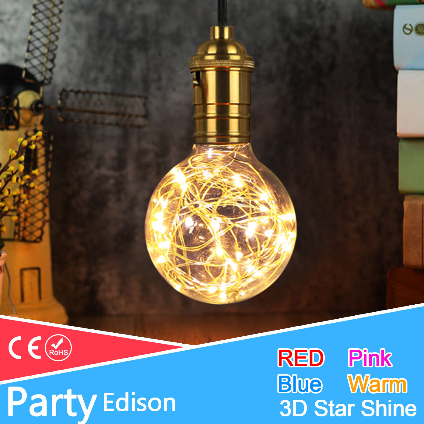 3D Star/Colour Fairy G95 Led Edison Light E27 220v LED Bulb Lamp String Filament Retro Glass Lampara Ampoule Christmas Wedding