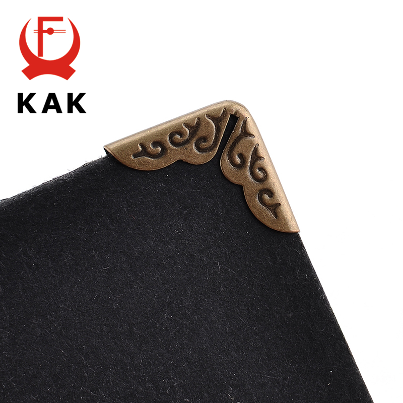 KAK 24pcs 15x15x3mm Antique Brass Metal Book Scrapbooking Notebook Albums Menus Folders Corner Protectors Bronze Tone Hardware