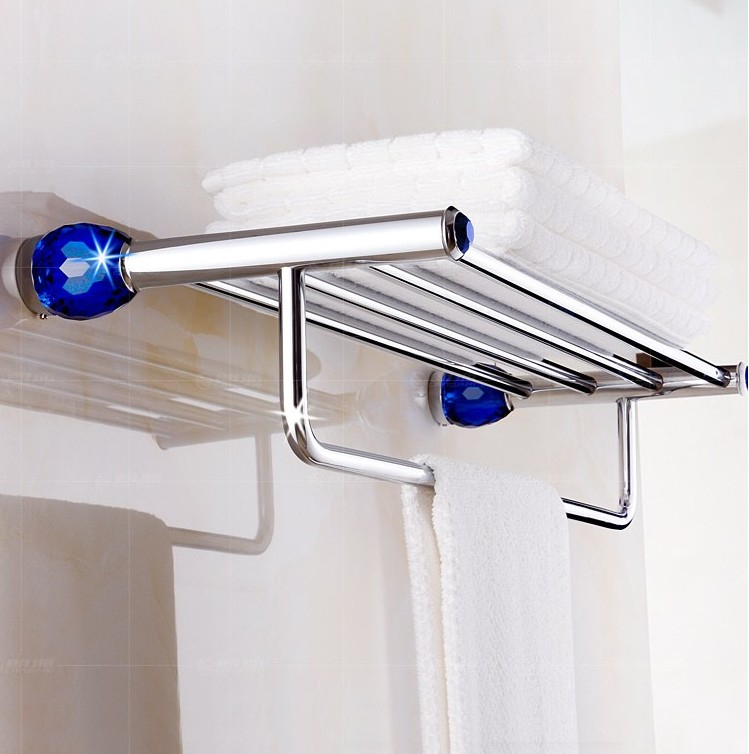 Copper Material Luxury Crystal&Chrome Finish Design Towel Rack,Modern Bathroom Accessories Towel Bars Shelf,Bronze  Towel Holder