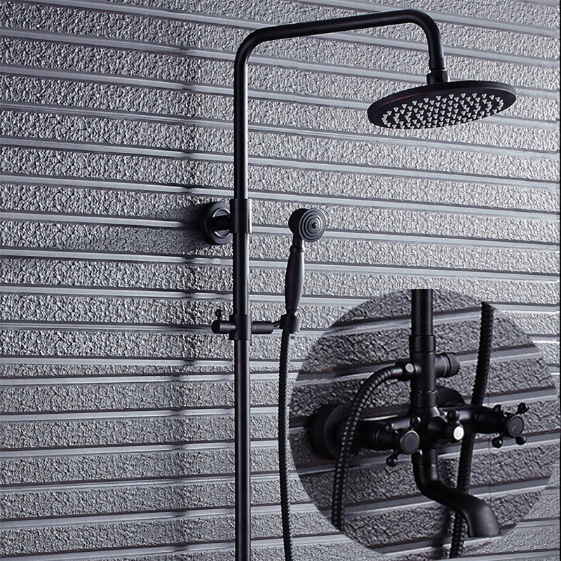 Elegant Bathroom Shower Bar System, Solid Brass, Oil Rubbed Bronze / Black, K87-X1, Idea for Out Door Showering