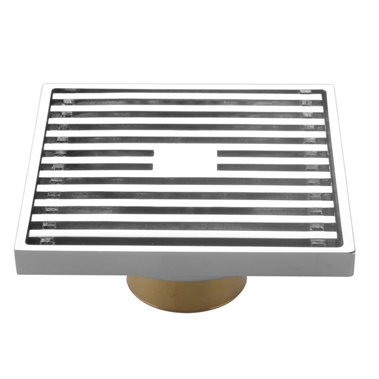 Drains 10*10cm Bathroom Accessory Chrome Finish Solid Brass Floor Drain Strainer Bathroom Drainer Shower Drainer 8112A