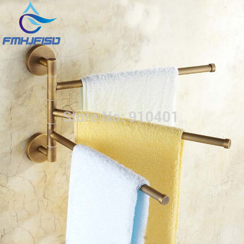Hot Sale Wholesale And Retail Promotion Modern Hotel Antique Brass Towel Rack Holder Swivel 3 Towel Bars Towel Hangers