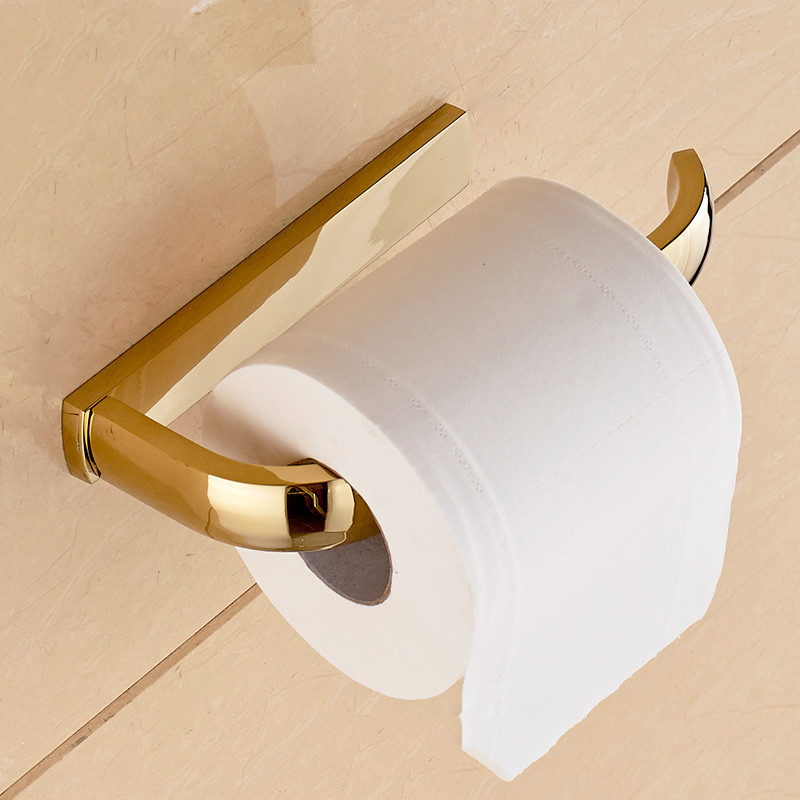 Paper Holder 5 Colors Solid Brass Wall Mount Toilet Paper Holder Bathroom Accessories WC Roll Holder Home Improvement F81351