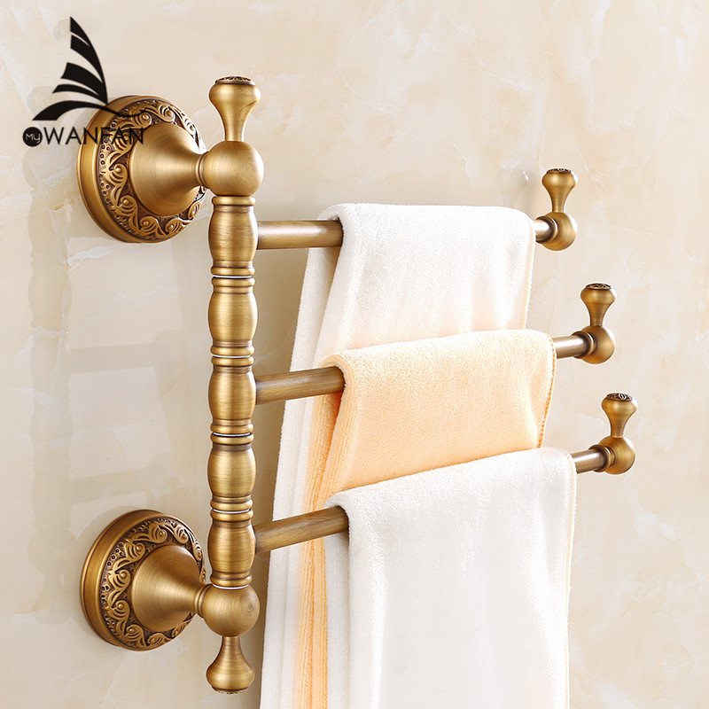 Towel Racks 3-4 Tiers Bars Antique Brass Towel Holder Bath Rack Active Rails Pants Hanger Bathroom Accessories Wall Shelf F91373