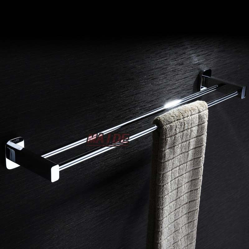 Fashion Extended 640mm Brass Chrome Finished Double Towel Bar,Bathroom Product Towel Holder,Towel Rack