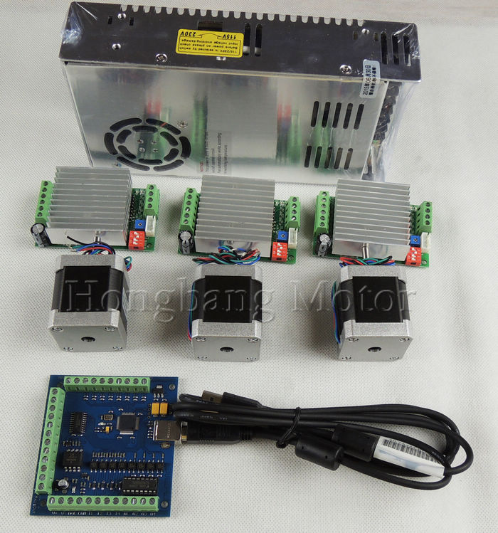mach3 CNC USB 3 Axis Kit, 3pcs TB6600 stepper driver+ mach3 USB stepper motor controller 100 KHz+3pcs nema17 motor +power supply
