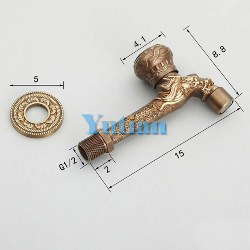 Long garden use Bibcock faucet tap crane Antique Brass Finish Bathroom Wall Mount Washing Machine Water Faucet Taps YT-5164-B
