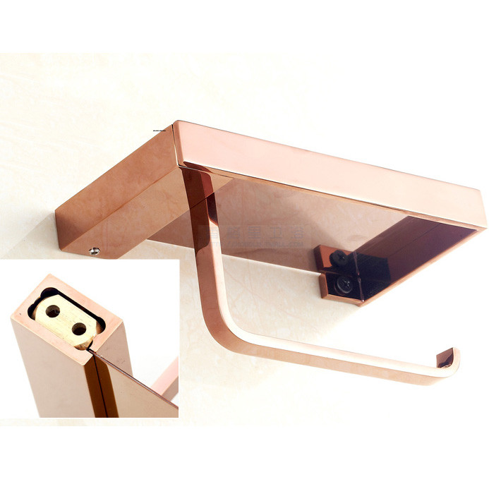 Bathroom Wall-Mount Tissue Holder/ Toilet Paper Holder, Rose Gold Brass For Mobile phone holder  08-029-5