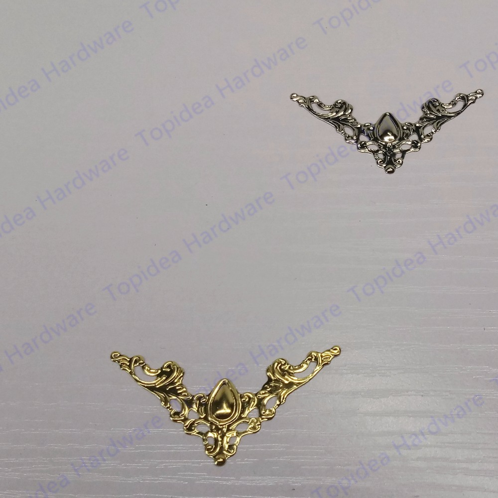12pcs Furniture Hardware Accessories 40mm Antique Brass Jewelry Box Wooden Case Photo Album Corner Decorative Protector