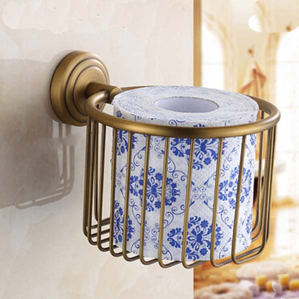 Retro Style Wall Mounted Toilet Paper Holder Roll Towel Bar Holder Antique Brass