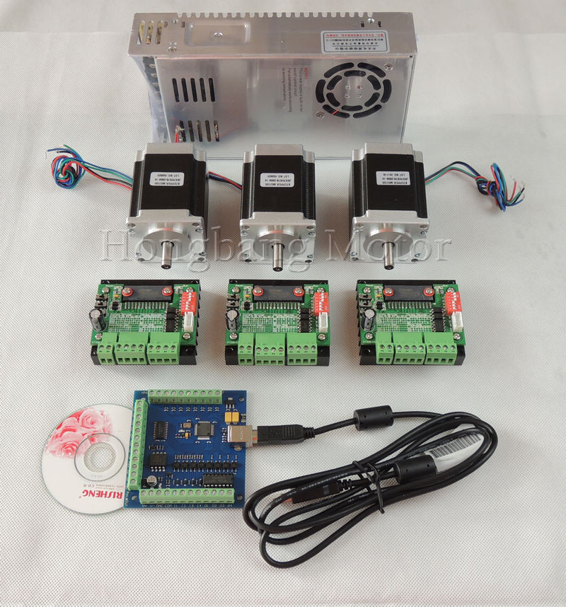 CNC mach3 USB 3 Axis Kit,3pcs TB6560 driver+ USB stepper motor controller 100KHz+ 3pcs nema23 270oz-in motor+ power supply