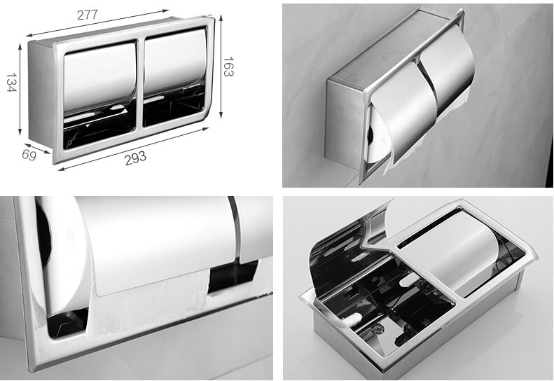 Best Quality Wall Mount Double Stainless Steel Toiket Paper Holder Bathroom Paper Tissure Box Chrome/golden 3 Style