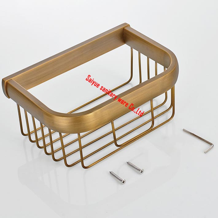 Wall Mount Antique Brass Bathroom Basket for Toilet Roll Paper & Daily Necessities Cosmetic Shower Caddy Storage Holder