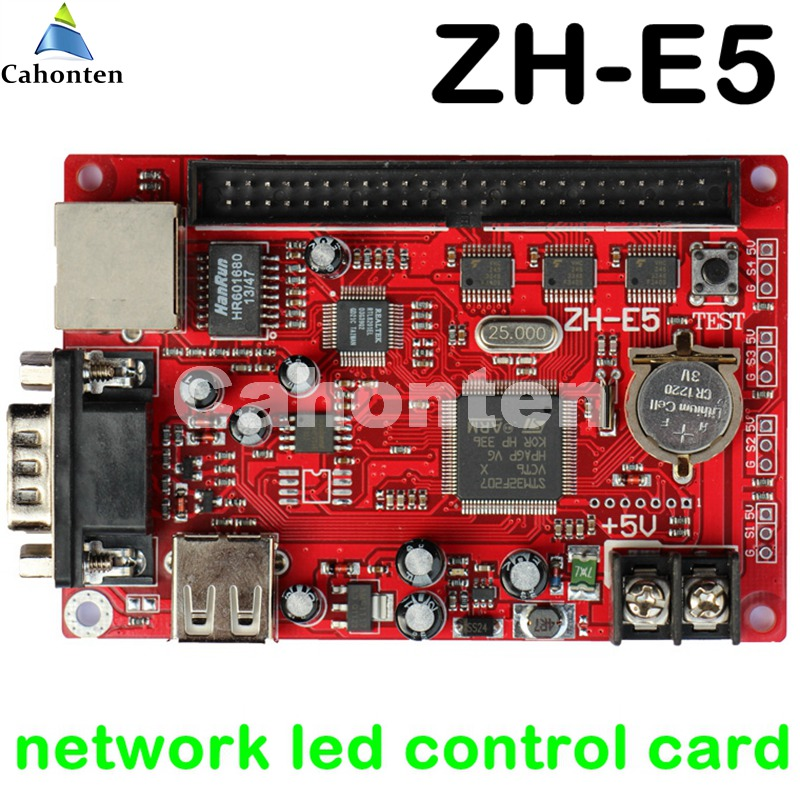ZH-E5 Network/USB/serial communication led control card max 1280*128 pixels P10,p13.33,f3.75,P16 led lintel sign drive board