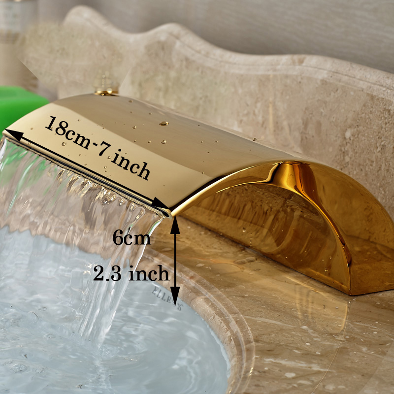 Luxury Basin Faucet Spout without Handles Deck Mounted Gold Finish Bathroom Accessories