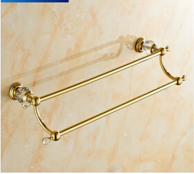 High Quality double Towel Bar,Towel Holder, Towel rack Solid Brass & Crystal Made Golden Finish